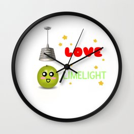 I Love The Limelight Cute Lime Pun Wall Clock