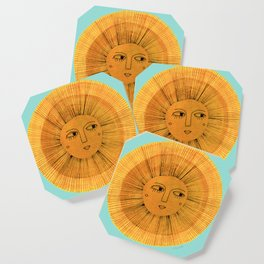 Sun Drawing Gold and Blue Coaster
