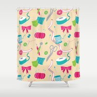 sewing Shower Curtains featuring Sewing Session by Valentina Cariel
