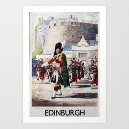 Edinburgh Vintage Travel Poster Art Print