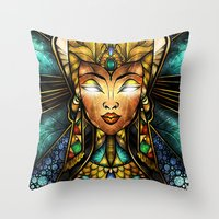 mandie manzano Throw Pillows featuring Nefertiti by Mandie Manzano