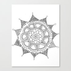 Black and White Circle Doodle Canvas Print