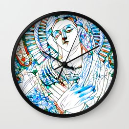 Glass stain mosaic 9 - Virgin Mary, by Brian Vegas Wall Clock