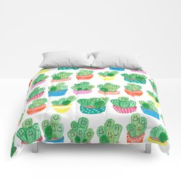 Cacti in fancy pots with smily faces. Comforters