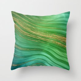 Green Mermaid Glamour Marble With Gold Veins Throw Pillow