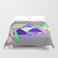 decal Duvet Covers featuring lines and triangles  by haroulita