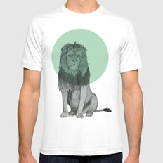 sitting lion Mens Fitted Tee MEDIUM White