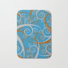 Blue Swirl Pattern Bath Mat