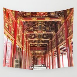 Red Asian Palace Wall Tapestry
