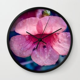 Pink Suede Rose On Blue Wall Clock