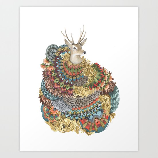 Quilted Forest: The Deer Art Print