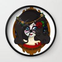 dia de los muertos Wall Clocks featuring Dia de Los Muertos by Lilolilosa