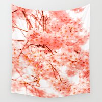 cherry blossoms Wall Tapestries featuring Cherry Blossoms by 2sweet4words Designs