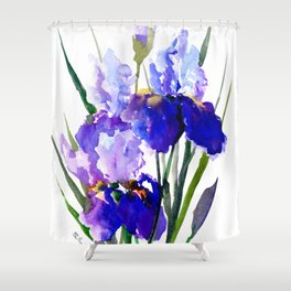 Garden Irises, Blue Purple Floral Design Shower Curtain