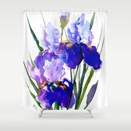 Garden Irises, Blue Purple Floral Design Shower Curtain
