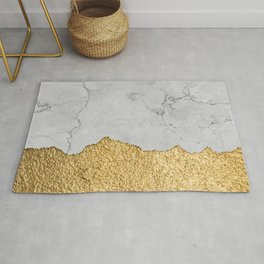 Gold torn & Grey marble Rug