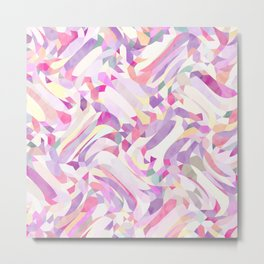Calypso Pattern in Purple, Pink, Yellow and White Metal Print