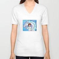 chihiro V-neck T-shirts featuring Spirited Away Chihiro and Haku by Kimberly Castello