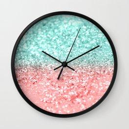Summer Vibes Glitter #1 #coral #mint #shiny #decor #art #society6 Wall Clock
