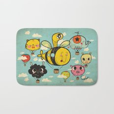 Happy Flight / The Animals Hot Air Balloon Voyagers / Patterns / Clouds Bath Mat