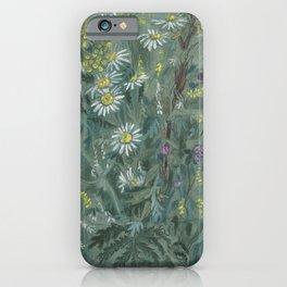 July Wildflowers, Meadow Flowers, Summer Floral, Grey iPhone Case