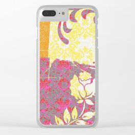 Crayon Bright Rose Pink Collage Love Clear iPhone Case