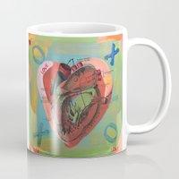 anatomical heart Mugs featuring Anatomical Sacred Heart by Silva Ware by Walter Silva