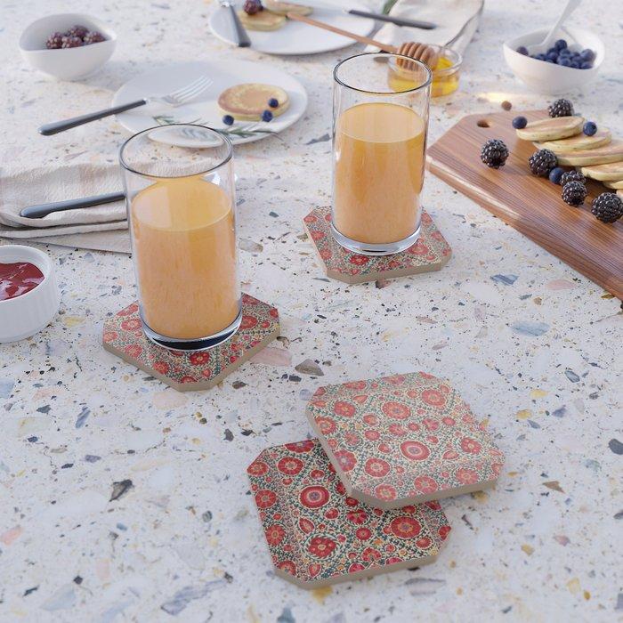 Kermina Suzani Uzbekistan Embroidery Print Coaster