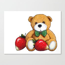 Teddy Bear With Strawberries, Illustration Canvas Print