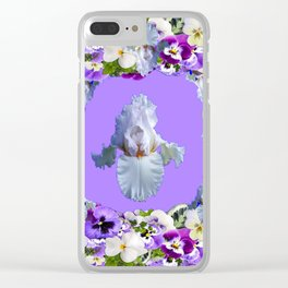 SPRING LILAC PURPLE PANSY FLOWERS & WHITE IRIS PATTERN Clear iPhone Case