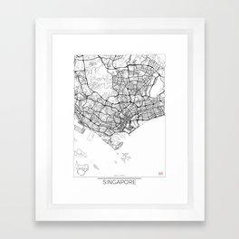 Singapore Map White Framed Art Print
