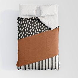 Polka Dots and Stripes Pattern (black/white/burnt orange) Comforters