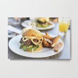 Juicy beef burger food photography Metal Print
