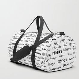 Thank you pattern Duffle Bag