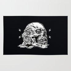 Skull Flower Art Print Rug