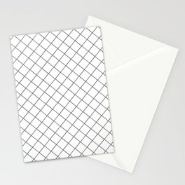 Pantone Pewter Gray Thin Line Stripe Grid (Pinstripe Pattern) on White Stationery Cards
