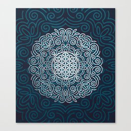 Flower Of Life (Silver Lining) Canvas Print