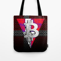 denmark Tote Bags featuring bitcoin denmark by seb mcnulty