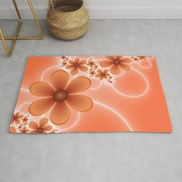 Good Mood, Fractal Art Fantasy Flowers Rug