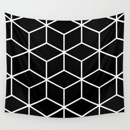 Black and White - Geometric Cube Design II Wall Tapestry