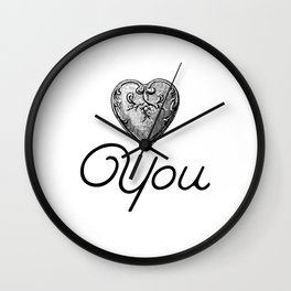 Heart you - Vintage heart i love you Wall Clock