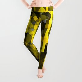 abstract composition in yellow and grays Leggings