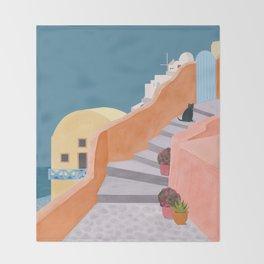 Santorini Pebble Stairs and Houses Throw Blanket