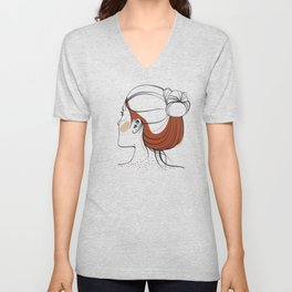 Red-haired woman with freckles. View from the back. Abstract face. Fashion illustration Unisex V-Neck