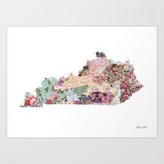 Kentucky map Art Print