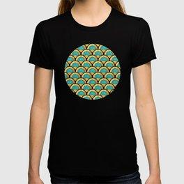 Duck Egg Green Art Deco Fan Pattern T-shirt