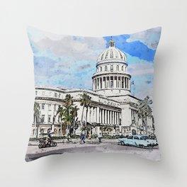 Havana Cuba Capitol Building Throw Pillow