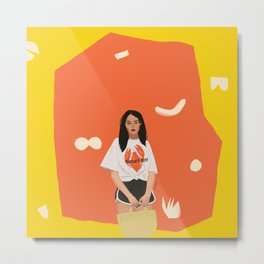 Abstarct Yellow and Orange Pattern with Girl Metal Print
