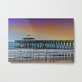 Myrtle Beach State Park Pier - Photo as Digital Paint Metal Print