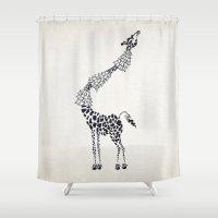 giraffe Shower Curtains featuring Giraffe by Cat Coquillette